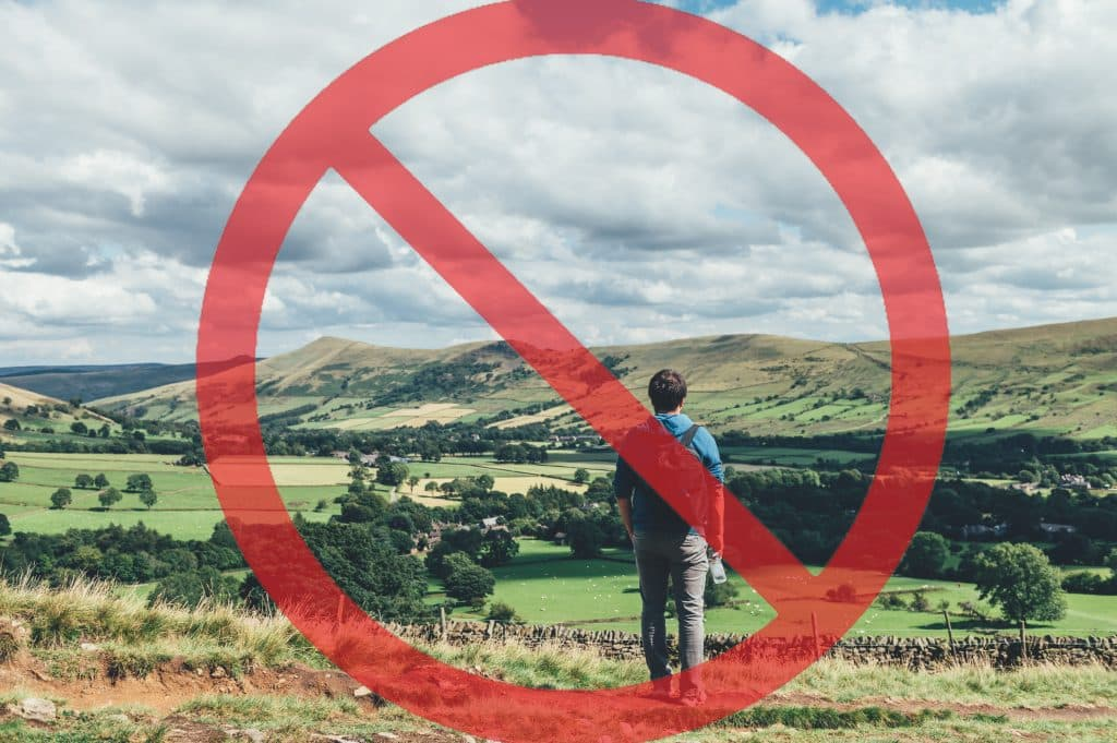 No Holiday in Lockdown, picture of a man stood looking at the view in the country